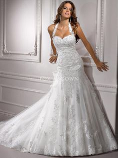 Fit and Flare Wedding Dresses with Bling | halter-fit-and-flare-sweetheart-wedding-dress-with-embellished-lace ...