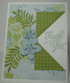 I've been wanting to make a card with the collar fold, and finally did it today! I found some old Stampin' UP! designer paper with my favorite color, Baja Breeze.
