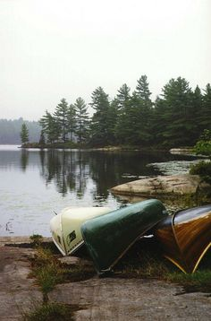 3 canoes. Rental bathtub-boat, my parents' lovely old green Mad River, and my uncle's handbuilt cedar strip beauty.