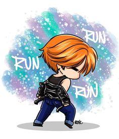 jimin - bts - fanart - chibi - run - dance