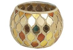S/2 Mosaic Votive Holders, Gold. These are also perfect but were a one-time quick sale. Love the color and shape
