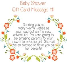 Baby Shower Gift Card Message Idea – Sending you so many warm wishes as you head out on this new adventure! You are going to be amazing parents to your new little sweetie girl. She will be so blessed to have you as her parents! Baby Card Messages, Baby Shower Card Message, Baby Shower Card Sayings, Baby Shower Messages, Baby Shower Wishes, Best Baby Shower Gifts, Baby Shower Cards, Baby Gifts, New Baby Card Message