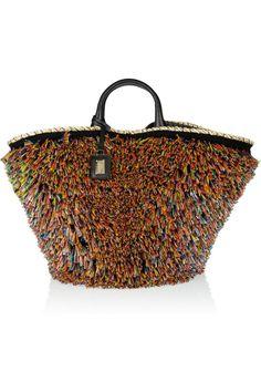 Dolce & Gabbana   Miss Kendra raffia-trimmed straw and leather shopper   NET-A-PORTER.COM