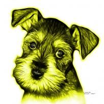 Yellow Salt and Pepper Schnauzer Puppy pop art by artist James Ahn. Schnauzers are a loyal breed. BYellow as a rat catcher, yard dog, and guard dog. They have high energy and are intelligent... They make great companions... Schnauzer 7206   © Rateitart.com // All Rights Reserved.   #Yellow #ColorYellow #YellowArt #YellowPopArt #Schnauzer # SchnauzerArt # MinatureSchnauzer #DogArt #PopArt #DogArtPrints #ILoveSchnauzer #SchnauzerArtPrint
