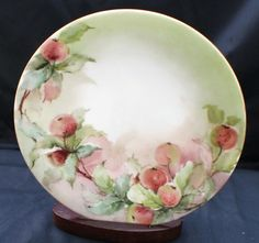 Antique T V Limoges France Hand Painted Pink Apples Bone China 7 1 4 Plate