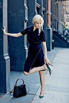Outfit of the Week: A Work-Friendly Black Dress: M.M. LaFleur the Tory Dress at M.M. LaFleur; Manolo Blahnik BB Pumps at Manolo Blahnik; Valentino Single Handle Bag at Valentino; Miansai Reeve Cuff at Miansai.