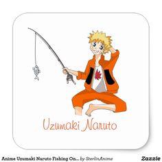 Anime Uzumaki Naruto Fishing On A Hot Summer Day Square Sticker
