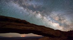 Night sky above Mesa Arch in Canyonlands