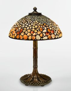Rare Pebble table lamp w/ Bamboo base, TIFFANY: DREAMING IN GLASS 14 DECEMBER 2016