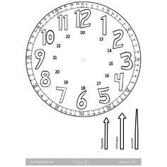 horloge-coloriage Math, Clock, Black N White, Mathematics, Math Resources, Early Math