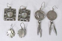 Bargain Barn lot of three Pairs sterling silver wire earrings, two pairs from Indian Head / Buffalo Head Nickels Vintage Shops, Vintage Items, Vintage Jewelry, Wire Earrings, Drop Earrings, Native American Earrings, American Indian Jewelry, Indian Head, Native American Indians