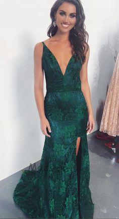 0223c80205 Elegant Mermaid Emerald Green Lace Evening Dress. Gorgeous Prom DressesSweet  ...