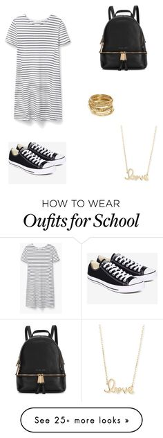 """Edgy School Day Outfit"" by jsandoval0128 on Polyvore featuring MANGO, Converse, Michael Kors, ABS by Allen Schwartz and Sydney Evan"