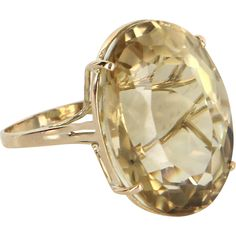 Large 25ct Citrine Cocktail Ring Vintage 14 Karat Yellow Gold Estate Fine Jewelry