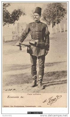 """Ottoman soldier, Constantinople Turkey, 1903. Max Fruchtermann, 1852-1918. The most prominent early publisher of Ottoman postcards. From the eastern border of Austria-Hungary he came to the central part of the Ottoman Empire in the 1860s, at the age of seventeen he opened a frame-shop at Yüksekkaldirim Istanbul. It is hard to underestimate his role in the publishing scene that followed. He was one of the first """"editeurs"""" (if not the very first) to create postcards depicting the Ottoman…"""