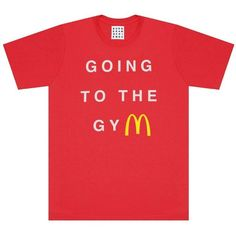 GOING TO THE GYM TEE (1,155 INR) ❤ liked on Polyvore featuring tops, t-shirts, red crew neck t shirt, red tee, cotton crew neck t shirts, crew neck tee and cotton t shirts