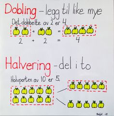 Dobling og halvering Too Cool For School, Kids Education, First Grade, Kids And Parenting, Teaching Kids, Language, Teacher, Math, 2nd Grade Class