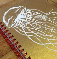 Items similar to Underwater Jellyfish, Hand Silk Screened Gold Shimmer Notebook on Etsy Gold Silk, Some Ideas, Jellyfish, Coupon Codes, Printmaking, Notebook, Kids Rugs, Trending Outfits, Unique Jewelry