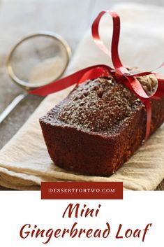 Mini Gingerbread Loaf for Two - Mini Loaf Recipes - Dessert Bread Recipes Mini Loaf Cakes, Mini Bread Loaves, Mini Loaf Pan, Loaf Recipes, Baking Recipes, Cake Recipes, Dessert Recipes, Pillsbury Recipes, Dessert For Two