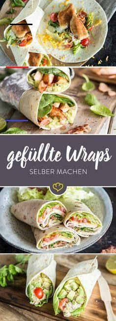 Chicken WRaps: crispy chicken on the fist - A freshly rolled wrap is a welcome savior when you are hungry. With the right filling and tips for -Crispy Chicken WRaps: crispy chicken on the fist - A freshly rolled wrap is a welcome savior when you are hu. Clean Eating Recipes, Clean Eating Snacks, Healthy Snacks, Healthy Recipes, Snacks Recipes, Fish Recipes, Healthy Wraps, Paleo Food, Paleo Diet