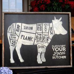 Butcher Shop Cuts Diagram rustic wood sign by mangoseedmarketplace, $65.00