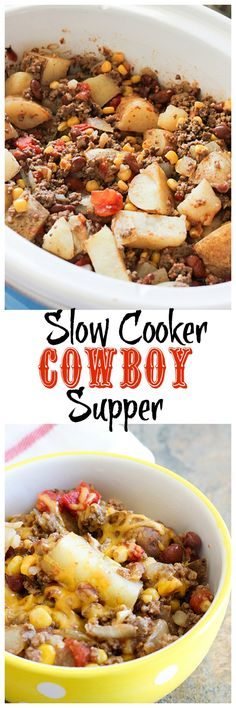 Slow Cooker Cowboy Supper The latest recipes and sweet suggestions. Crock Pot Food, Crockpot Dishes, Crock Pot Slow Cooker, Slow Cooker Recipes, Beef Recipes, Cooking Recipes, Recipies, Soup Recipes, Crockpot Meals