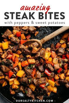 These steak bites are packed with tons of flavor and huge pops of healthy vitamins and minerals thanks to colorful sweet potatoes, bell peppers, green onions, and fresh cilantro. This weeknight dinner recipe takes one pan and is ready in un Whole30 Dinner Recipes, Paleo Recipes, Real Food Recipes, Cooking Recipes, Best Healthy Recipes, Sweet Potato Recipes Healthy, Zoodle Recipes, Kid Recipes, Clean Eating Snacks