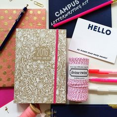 """""""Back to school season has begun at the shop! We have greatly expanded our planner offerings this year, come in soon to snag your favorite. Both shops have a great selection! We love this Kraft paper + white floral with pink painted edges, fits perfect in a backpack #shindigpaperie #backtoschool"""" Photo taken by @shindigpaperie on Instagram, pinned via the InstaPin iOS App! http://www.instapinapp.com (07/10/2015)"""
