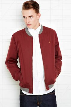 Farah Vintage Wheeler Bomber Jacket in Claret at Urban Outfitters