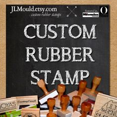 Custom Personalized Modern Red Rubber Stamp mounted by JLMould
