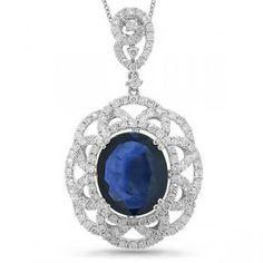 Luxurious Diamond & Blue Sapphire Pendant Necklace 18k White Gold 8.34ctw - allurez.com