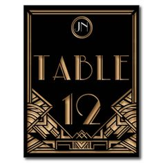 Schwarze Goldkunst-Deko Gatsby Art-Tischnummer 12 Postkarte