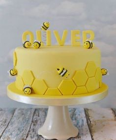 Could easily be a baby shower. Could easily be a baby shower cake too. Could easily be a baby shower cake too. Baby Cakes, Baby Shower Cakes, Cupcake Cakes, Bee Birthday Cake, Bumble Bee Birthday, Baby Birthday, Bumble Bee Cake, Birthday Ideas, Bee Theme
