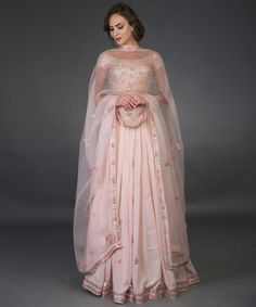 Nude Pink Resham and Gota Patti Hand Embroidered Lehenga - Prom Dresses Design Indian Gowns, Indian Attire, Indian Outfits, Indian Lehenga, Indian Clothes, Indian Designer Outfits, Designer Dresses, Indian Wedding Wear, Wedding Lehnga
