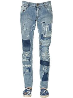 DOLCE & GABBANA - 17CM GOLD FIT DESTROYED DENIM JEANS - LUISAVIAROMA - LUXURY SHOPPING WORLDWIDE SHIPPING - FLORENCE