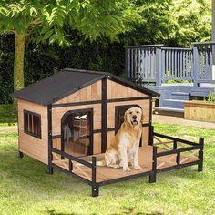 Pawhut Wood Raised Outdoor Weatherproof Rustic Log Cabin Style Pet Dog House - Overstock - 27666094 Large Dog House, Wooden Dog House, Amish, Dog House Kit, Wooden Dog Kennels, Cool Dog Houses, Amazing Dog Houses, Pet Houses, Wood Dog