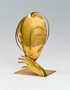 Franz Hagenauer (Vienna,1906-1986)  Head Sculpture, Design: around 1945   brass, cast and driven, below the plinth