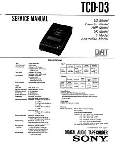 Sony TCD-D7 DAT , Original Service Manual PDF format