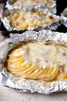 DIY Tin Foil Camping Recipes - Potatoes Au Gratin Foil Packets - Tin Foil Dinners, Ideas for Camping Trips and On Grill. Hamburger, Chicken, Healthy, Fish, Steak , Easy Make Ahead Recipe Ideas for the Campfire. Breakfast, Lunch, Dinner and Dessert, Snacks all Wrapped in Foil for Quick Cooking http://diyjoy.com/camping-recipes-tin-foil
