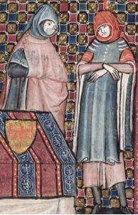 Side buttoned cloak, MS Bodley 264, Roman d' Alexandre, Flemish 1338-44. See also http://image.ox.ac.uk/show?collection=bodleian&manuscript=msbodl264