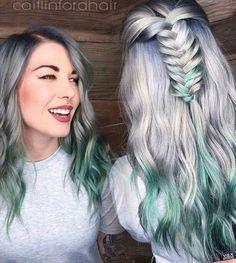 Half up half down braid. Silver metallic with green ombre. Vivid hair color.