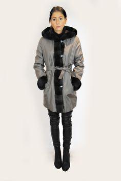 JESSIMARA TAUPE SILK RABBIT FUR LINED COAT Fur Lined Coat, Rabbit Fur, Taupe, Winter Jackets, Silk, Collection, Fashion, Beige, Moda