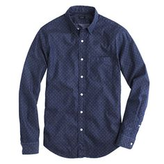 Crew for the Slim denim shirt in triple dot for Men. Find the best selection of Men Shirts & Tops available in-stores and online. Printed Denim, Printed Shirts, Mens Fashion Suits, Men's Fashion, J Crew Men, Tailored Suits, Men's Wardrobe, Work Shirts, Look Cool