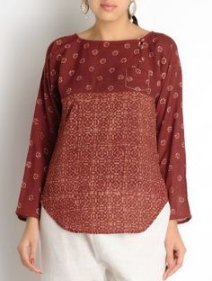 Maroon-Ecru Ajrakh Cotton Top - by Jaypore
