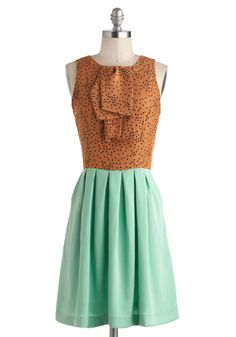 Feeling Mint Chocolate Chipper Dress by Dear Creatures - Mid-length, Tan / Cream, Black, Mint, Polka Dots, Pockets, Party, A-line, Twofer, Sleeveless, Crew, Pastel