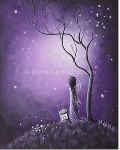 purple art print Night Of The Fairies SHAWNA by shawnaerback, $15.00