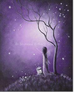 purple art print Night Of The Fairies SHAWNA by shawnaerback, $15.00