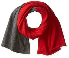 bela.nyc Women's Cashmere Two-Color Scarf, Bright Crimson/Charcoal Heather, One Size -- Click on the image for additional details.