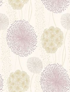 Gardenia - Harlequin Wallpapers - Large scale seed heads in a subtle design, in soft elegant colour combinations. Shown here in the soft purple and green on off-white. Available in other colours. Please request sample for true colour match. Harlequin Wallpaper, White Wallpaper, Pattern Wallpaper, Wallpaper Ideas, Cosy Lounge, Fashion Wallpaper, Soft Purple, Plant Illustration, Grey And Beige
