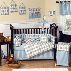 Argyle Carolina Blue Cocoa Baby Crib Bedding Set by Jojo Designs $169.99